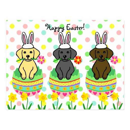 Easter Egg Lab Puppies Cartoon Postcard