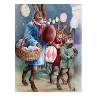 Easter Egg Lanterns Bunny Parade Postcard