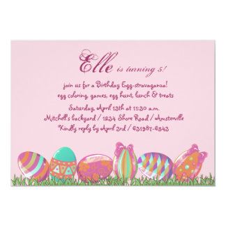 Easter Egg March, Holiday Birthday  Party Invitati 5x7 Paper Invitation Card