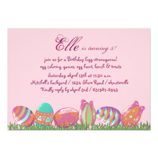 Easter Egg March, Holiday Birthday  Party Invitati Announcements