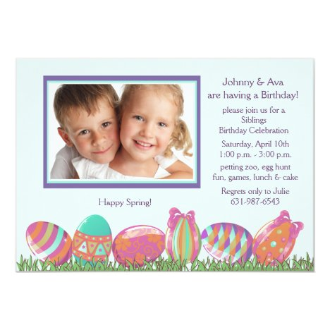 Easter Egg March Photo Birthday Party  Invitation