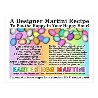 Easter Egg Martini Recipe Card Postcard