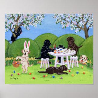 Easter Egg Painting Labradors Artwork Print