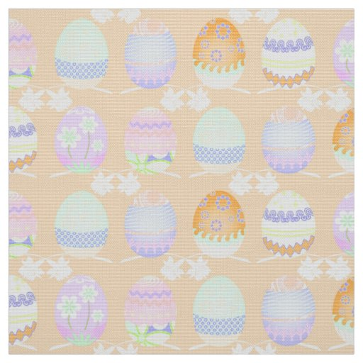 Easter Egg Pattern Sherbet Orange Id177 Fabric Zazzle
