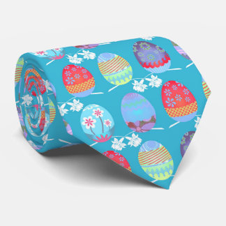 Easter Egg Pattern Turquoise ID177 Tie