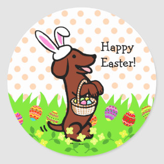 Easter Egg Red Smooth Haired Dachshund Classic Round Sticker