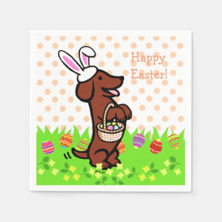 Easter Egg Red Smooth Haired Dachshund Paper Napkin
