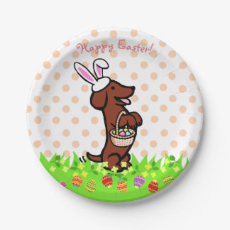 Easter Egg Red Smooth Haired Dachshund Plates