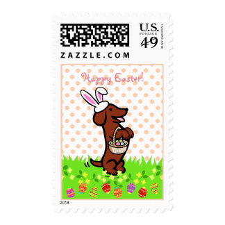 Easter Egg Red Smooth Haired Dachshund Postage