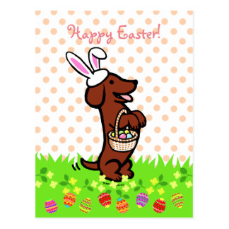 Easter Egg Red Smooth Haired Dachshund Postcard