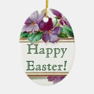 Easter Egg Retro Style Vintage Floral Violets Ceramic Ornament