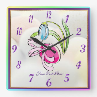 Easter Egg, Ribbon and Flower Square Wall Clock