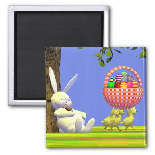 Easter Egg Robbers 2 Inch Square Magnet