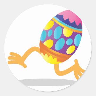 easter egg running classic round sticker