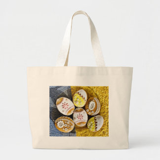 Easter Egg Shaped Biscuits On The Plate On Yellow Canvas Bag