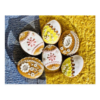 Easter Egg Shaped Biscuits On The Plate On Yellow Postcard
