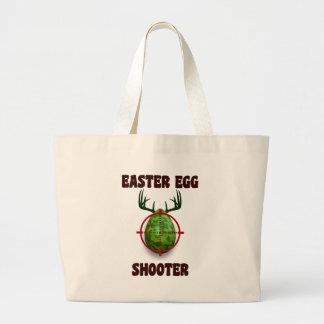 easter egg shooter, funny easter deer gift desgin large tote bag