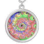 Easter Egg Spiral Fractal Round Pendant Necklace