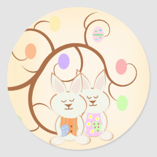 Easter Egg Tree and Bunnies Spring Stickers