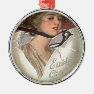 Easter Egg Victorian Woman Metal Ornament