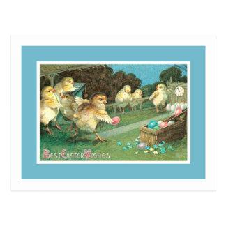 Easter Egg Vintage Bowling Chicks Postcard