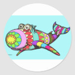 Easter Egg Whale Classic Round Sticker