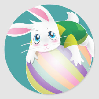 Easter Egg with Bunny on top Classic Round Sticker