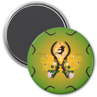 Easter egg with cute dragon and damasks 3 inch round magnet