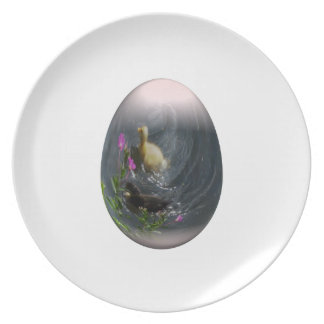 easter egg with ducklings dinner plate