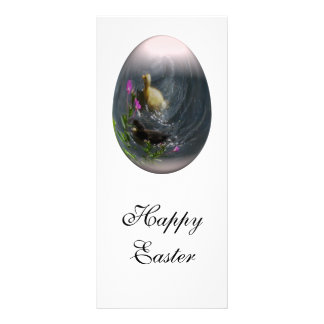 easter egg with ducklings rack card