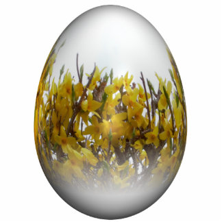 Easter egg with forsythia cut outs