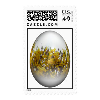 Easter egg with forsythia stamp