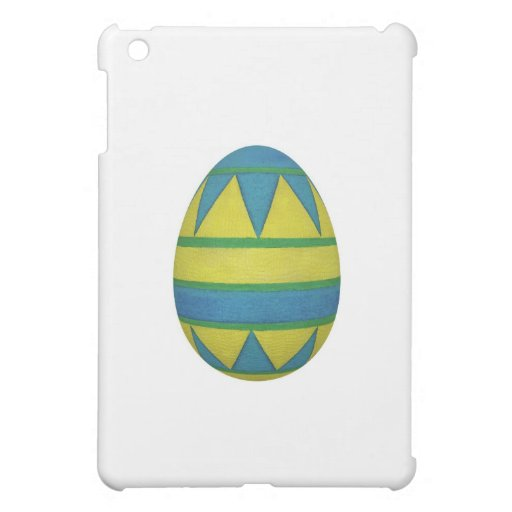 Easter Egg with Painted Blue and Yellow Pattern iPad Mini Cases