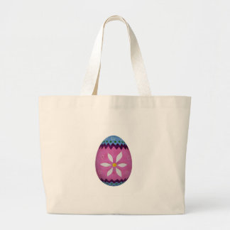 Easter Egg with Painted Flower Pattern Tote Bag