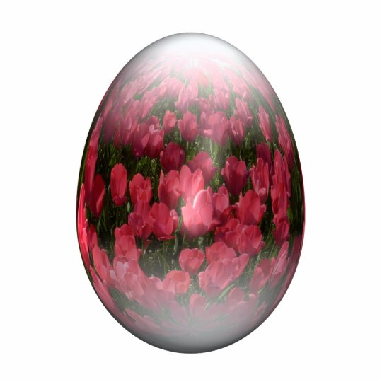 easter egg with red tulips statuette