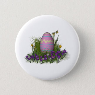 Easter Egg with Spring Flowers Button