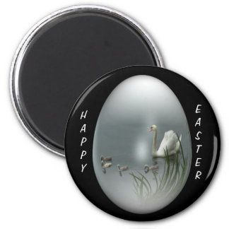 easter egg with swan and cygnets 2 inch round magnet
