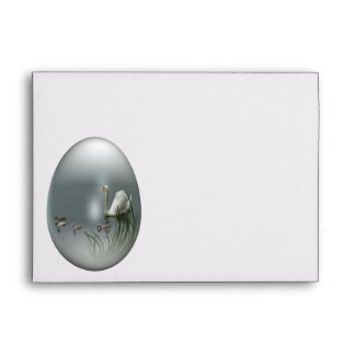 easter egg with swan and cygnets envelopes