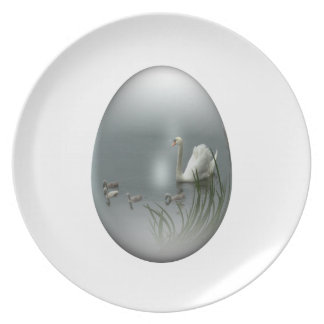 easter egg with swan and cygnets party plates