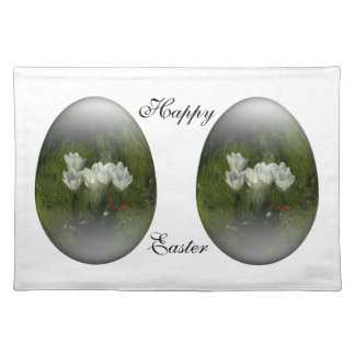 easter egg with white tulips cloth placemat