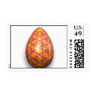 Easter Egg. Yellow Floral Shaped On Magenta Red Postage Stamp