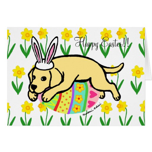 Easter Egg Yellow Labrador Cartoon Card