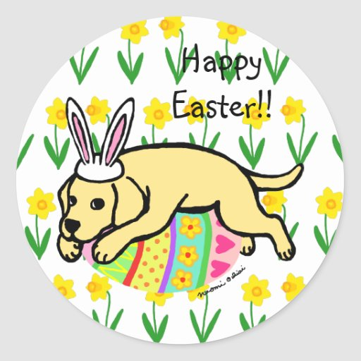 Easter Egg Yellow Labrador Cartoon Classic Round Sticker