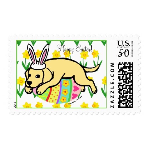 Easter Egg Yellow Labrador Cartoon Postage