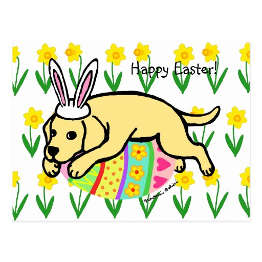 Easter Egg Yellow Labrador Cartoon Postcard