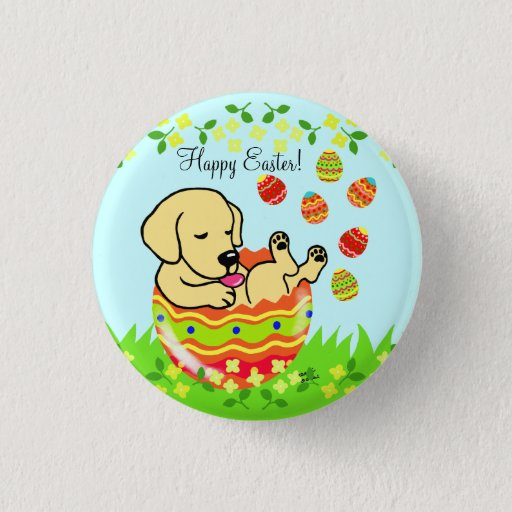 Easter Egg Yellow Labrador Puppy Cartoon Button