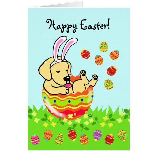 Easter Egg Yellow Labrador Puppy Cartoon Card