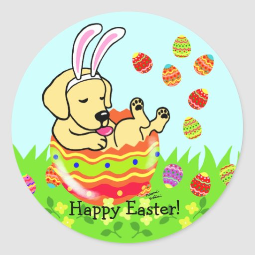 Easter Egg Yellow Labrador Puppy Cartoon Classic Round Sticker