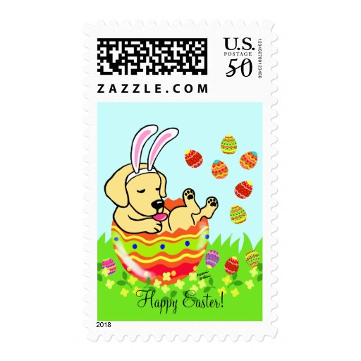 Easter Egg Yellow Labrador Puppy Cartoon Postage