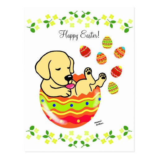 Easter Egg Yellow Labrador Puppy Cartoon Postcard